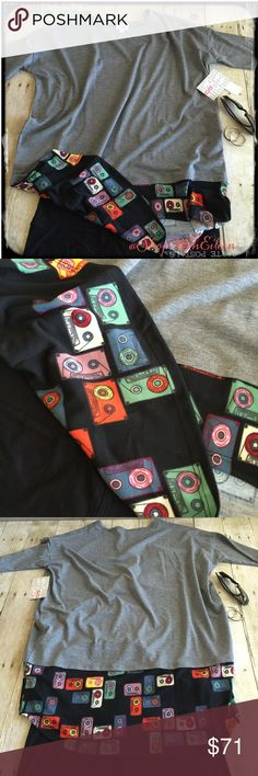 """🆕 Lularoe GRAY BLACK CASSETTE LAYERED DIPPED Irma 🆕 Lularoe GRAY BLACK CASSETTE LAYERED DIPPED Irma 🎤The Irma top is a loose, knit """"high-low"""" tunic with raglan mid-length sleeves. The extra length in the back makes it a great compliment to leggings – especially for all those wanting some extra coverage for their, ahem, assets. Wear this top and you might never take it off. Black leggings & converse & this top! PERFECT! 96% Polyester 4% Spandex DEMAND + SUPPLY=PRICE! *I am not a…"""