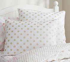 2 Gold Polka Dot Quilted Bedding #pbkids
