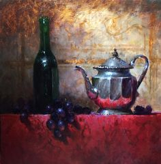 A Little Silver With My Wine by Kathy Tate Oil ~ 16 x 16