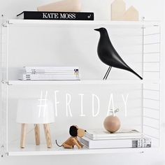 simple white shelving and contemporary styling with Eames house bird Scandinavian Interior, Scandinavian Style, Nordic Style, Scandi Style, Eames, Room Inspiration, Interior Inspiration, String Shelf, By Lassen