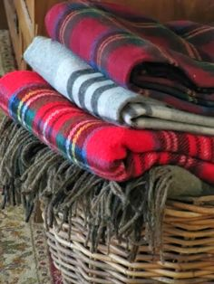 Pine Cones and Acorns, basket of throws for Fall and winter
