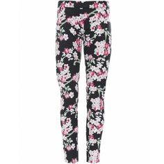 Armani Jeans Floral Printed Trousers (78 AUD) ❤ liked on Polyvore featuring pants, bottoms, jeans, pantalones, leggings, black, floral pattern pants, print pants, armani jeans and flat front side zip pants