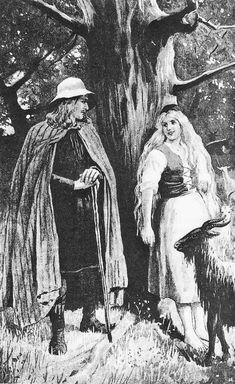 Jenny Nyström (1854-1946) est une peintre et illustratrice suédoise. Surtout connue pour ses illustrations de livres pour enfants et ses cartes de Noël (avec le célèbre jultomte), elle a aussi représenté les mythes et légendes nordiques, comme ici Helgi et Yrsa, personnages de la Hrólfs saga kraka. Pour en savoir plus: http://www.fafnir.fr/jenny-nystroem.html.