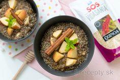 Quinoová kaša s chia semienkami a jablkom Tahini, Granola, Tofu, Quinoa, Acai Bowl, Smoothie, Oatmeal, Vegan, Breakfast
