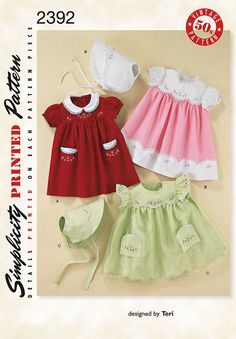 """babies' 1950's vintage layette sewing pattern dress and bonnet with embroidery.<br/><br/><img src=""""skins/skin_1/images/icon-printer.gif"""" alt=""""printable pattern"""" /> <a href=""""#"""" onclick=""""toggle_visibility('foo');"""">printable pattern terms of sale</a><div id=""""foo"""" style=""""display:none;"""">digital patterns are tiled and labeled so you can print and assemble in the comfort of your home. plus, digital patterns incur no shipping costs! upon purchasing a digital pattern, you will..."""