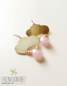 Fascinationstreet B-handmade: Orecchini in similoro e argento con briolettes in quarzo rosa e piccole perle