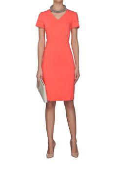 Sukienka dekolt V koralowa Różowy   Ubrania \ Sukienki \ Mini Ubrania \ Wszystkie ubrania Ubrania \ WIĘKSZE ROZMIARY PROJEKTANCI \ Laura Guidi Sukienki Wszystkie ubrania W ubiegłym tygodniu Triumf kolorów   MOSTRAMI.PL