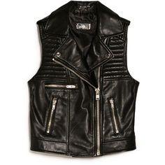 MANGO Leather biker gilet ($120) ❤ liked on Polyvore featuring outerwear, vests, tops, gilet vest, quilted vest, leather waistcoat, biker vest and genuine leather vest