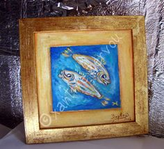 Oil PiscesFish Zodiac SignsBlue gold by ORIGINALsPAINTINGS on Etsy, €90.00