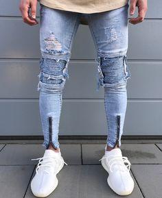 2017 Envmenst Brand Designer Slim Fit Ripped Jeans Men Hi-Street Mens Distressed Denim Joggers Knee Holes Washed Destroyed Jeans - The Bargain Paradise Denim Joggers, Jeans Denim, Distressed Denim Jeans, Casual Jeans, Sweatpants, Jeans Style, Moto Jeans, Diesel Jeans, Slim Fit Ripped Jeans
