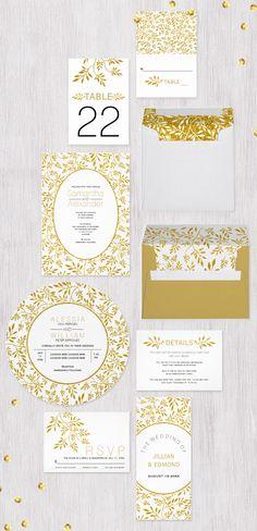 #Goldglitter pattern of leaves #weddinginvitations collection