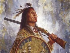"""In """"The Warrior and his Winchester,"""" a Blackfoot man carries a Winchester """"Yellow Boy"""" lever-action rifle, which began production in 1866. This weapon was a favorite of the Plains tribes because it was one of the first repeating rifles--warriors and hunters could shoot with it far faster than they could notch arrows into their bows. You can read more here: http://www.jamesayers.com/the-warrior-and-his-winchester/"""