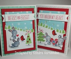Lawn Fawn - Snow Day + coordinating dies, Stitched Hillside Borders, Forest Border, Stitched Rectangle Stackables, Snow Day 6x6 paper _ adorable pair of cards by Kendra via Flickr - Photo Sharing!