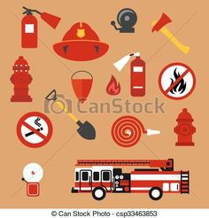 Vector - Fire safety, firefighter and protection flat icons - stock illustration, royalty free illustrations, stock clip art icon, stock clipart icons, logo, line art, EPS picture, pictures, graphic, graphics, drawing, drawings, vector image, artwork, EPS vector art
