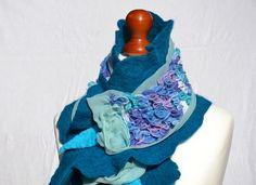Nuno Felted scarf collar handmade merino wool scarf by MyEspresso