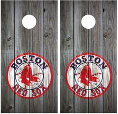 Boston Red Sox Vintage Wood Cornhole Board Decal Wraps (grey) #Oracal #RusticPrimitive