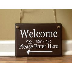 Welcome Sign Please Enter Here Arrow Front Door Wooden Sign Door Decor... ($17) ❤ liked on Polyvore featuring home, home decor, wall art, home & living, home décor, ornaments & accents, white, white wall art, wood welcome sign and welcome sign