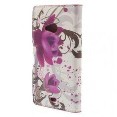 Lumia 535 violetit kukat puhelinlompakko