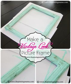 how to make a vintage-style picture frame with a dry brush technique - Diy picture frames Picture Frame Crafts, Vintage Picture Frames, Vintage Frames, Vintage Pictures, Paint Picture Frames, Distressed Picture Frames, Diy Arts And Crafts, Crafts To Do, Diy Crafts