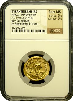 This Byzantine coin was minted in the Byzantine Empire under the reign of Emperor Phocas. It has survived thousand of years in uncirculated condition! In fact, NGC Ancients graded it as Gem MS – the highest grade given! They strike and surface were also determined to be exceptional. This coin is actually one of the best surviving examples of this byzantine coin! Ancient Roman Coins, Ancient Romans, Coining, Coin Dealers, Gold And Silver Coins, One Coin, Coins For Sale, Rare Coins, Byzantine