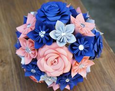 Navy and Coral Wedding Flowers | ... Flower Package - Bouquets, Bridesmaid Bouquet, Coral Navy Glitter