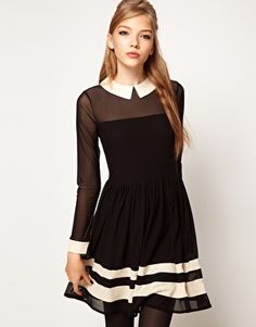 ASOS Skater Dress In Mesh With Contrast Detail   $61.57