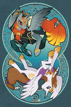 Super cute. It's Legend of Zelda Twilight princess and Zelda as ponies!  Posters will not contain watermark shown in the preview images.  Shipped in a sturdy cardboard tube and protecte...
