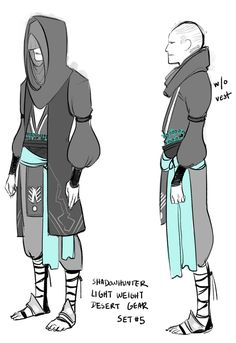 """Set 5: There are demons in the desert too, right? And unless there is a """"prevent heat exhaustion"""" rune (which actually is there??) some more weather appropriate gear might be in order! The hood is three layers of lighter fabric, protection from the sun without being too hot."""