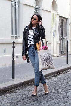 Breton Stripe Top & Jeans by Stella Asteria Estilo Fashion, Ideias Fashion, Breton Stripes Outfit, Outfits With Striped Shirts, French Women Style, Style Parisienne, Top Street Style, French Street Fashion, Paris Mode