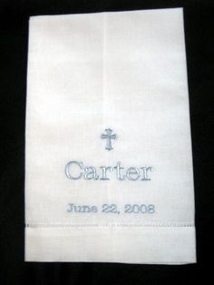 Embroidered Linen Towel Christening or Baptismal by LucysPocket