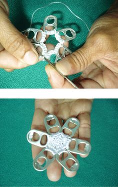 Crochet a Flower With Pull Tabs Pop Top Crochet, Crochet Bunny, Crochet Motif, Diy Crochet, Crochet Flowers, Crochet Patterns, Pop Top Crafts, Can Tab Crafts, Soda Can Crafts