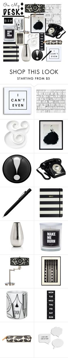 """""""Monochrome"""" by girl-inthe-park ❤ liked on Polyvore featuring interior, interiors, interior design, home, home decor, interior decorating, Kate Spade, GPO, Faber-Castell and Seedling by Thomas Paul"""