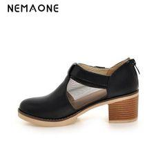 045ac9ea45 NEMAONE Nova moda primavera outono mulheres sapatos de salto alto sapatos  de mulher com tira no