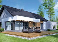 HomeKoncept-45 G2 - zdjęcie 3 Modern Family House, Gable House, Steel Buildings, Small House Design, Home Design Plans, Modern Exterior, Backyard, Patio, Home Fashion