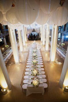 indoor reception+ white paper lanterns // #wedding