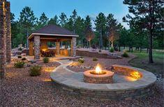 #fireplace, #backyard, #homes Backyard Patio Designs, Large Backyard, Fire Pit Backyard, Backyard Landscaping, Backyard Ideas, Backyard Seating, Patio Ideas, Outside Fire Pits, Cool Fire Pits