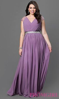 Dusty Lilac V-Neck Cap Sleeve Dress with Pleated Bodice at PromGirl.com