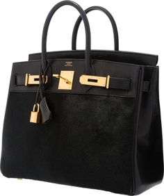 Hermes Limited Edition 28cm Black Ponyhair Evercalf Leather Troika Hac Birkin Bag With Gold