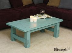 Wood Coffee Table, Painted and Distressed Farmhouse Style