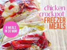 Everything you need to know to make six chicken freezer crockpot meals in 30 minutes. Healthy recipes, a grocery list, and helpful freezer meal tips.
