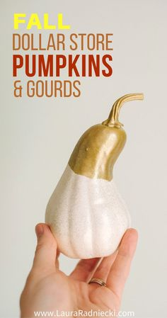 How to Make DIY Fall Pumpkins and Gourds Fall decor using pumpkins and gourds from the dollar store! Add spray paint and you can make beautiful fall decorations in minutes with these cute fall pumpkins and gourds decor ideas! Source by dajih Scary Halloween Decorations, Halloween Crafts For Kids, Halloween Home Decor, Fall Home Decor, Fall Decorations, Fall Crafts, Fall Halloween, September Decorations, Halloween Ornaments
