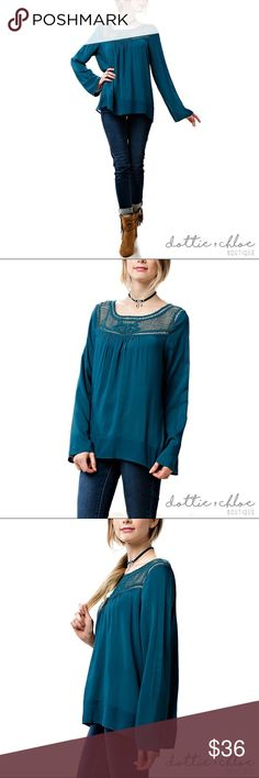 boho chic crochet long sleeve blouse (teal) Details coming soon... Check back on September 30th when this item will be available for sale! dottie + chloe Tops Blouses