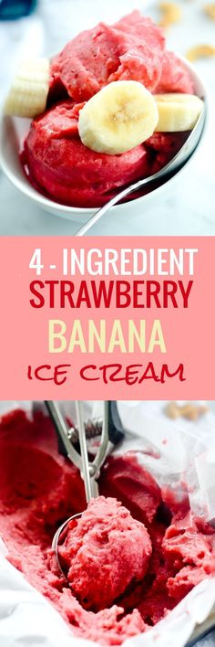 4 - Ingredient Strawberry Banana Ice Cream #healthy #dairyfree - Recipe Diaries