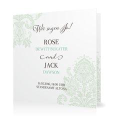 Hochzeitseinladung Cambridge Classic in Pfefferminz - Klappkarte quadratisch #Hochzeit #Hochzeitskarten #Einladung https://www.goldbek.de/detail/index/sArticle/560?color=pfefferminz&design=1bc0a