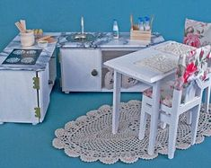 Your place to buy and sell all things handmade Miniature Furniture, Dollhouse Furniture, Wooden Furniture, Furniture Making, Wooden Dollhouse, Dollhouse Miniatures, Doll Food, Toilet Roll Holder, Miniature Crafts