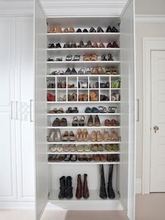 Turn reach-in closet into shoe closet. ~45 pairs on shelves, plus boxes and boots