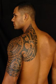 Polynesian Tribal Shoulder Tattoo