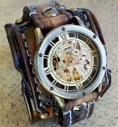 Burnt Looking Leather Watch