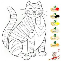 Educational page with exercises for children on addition and subtraction. Need to solve examples and to paint the image in relevant colors. Developing skills for counting. Preschool Assessment, Math Anchor Charts, Math For Kids, Learning Through Play, Exercise For Kids, Preschool Activities, Kids Rugs, Education, Children