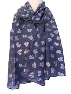 Colourful Hearts Print Women Ladies Girls Fashion Scarves Wrap Sarong Long Soft